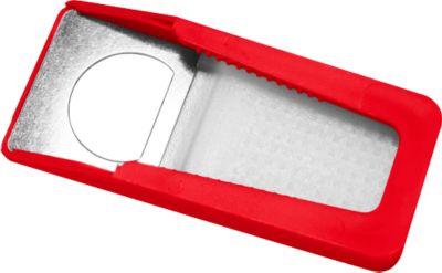 Flaschenöffner, mit Verschluss, aus recyceltem Kunststoff, rot