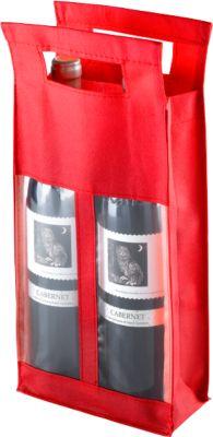 Flaschentasche Double, mit Sichtfenster, rot