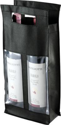 Flaschentasche Double, mit Sichtfenster, schwarz