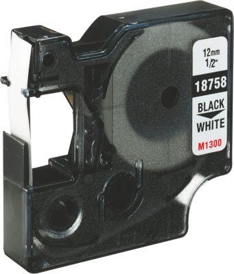 Flexibele nylontape voor belleteringsysteem RHINO, 12 mm x 3,5 m, ref. 18488, zwart/wit