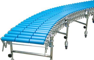 Flexibele rollenbaan, baanbreedte 300 mm, met 3 steunen