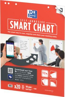Flipchart Papier OXFORD Smart Chart 600, 600 x 800 mm, 6-fach Lochung, selbstklebend, scannbar, blanko, weiß, 3 x 20 Blatt
