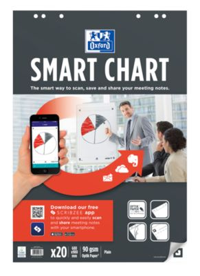 Flipchart Papier OXFORD Smart Chart 680 x 800 mm, 6-fach Lochung, selbstklebend, scannbar, blanko, weiß, 3 x 20 Blatt
