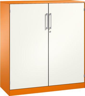 Flügeltürenschrank ASISTO C 3000, 3 Ordnerhöhen, B 1200 mm, orange/weiß