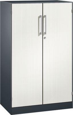 Flügeltürenschrank ASISTO C 3000, 3 Ordnerhöhen, mit Akustikfronten, B 800 mm, anthrazit/weiß