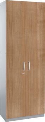 Flügeltürenschrank TETRIS SOLID, Stahlkorpus, 5 OH, B 800 mm, abschließbar, Kirsche Romana-Dekor/weißalu