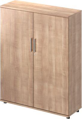 Flügeltürenschrank TETRIS WOOD, 4 OH, Höhe inkl. Gleiter, B 1200 mm, Kirsche Romana-Dekor