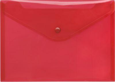 FolderSys Dokumententasche, DIN A5 quer, Druckknopfverschluss, PP, rot transparent