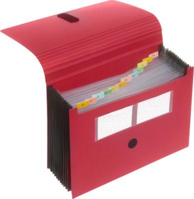 FolderSys Fächermappe, 12 Fächer, DIN A4, mit Klettverschluss, rot