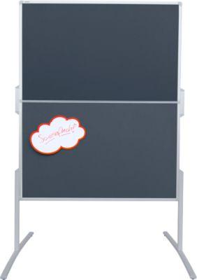 FRANKEN Moderationstafel, klappbar, 1200 x 1500 mm, Filz, grau