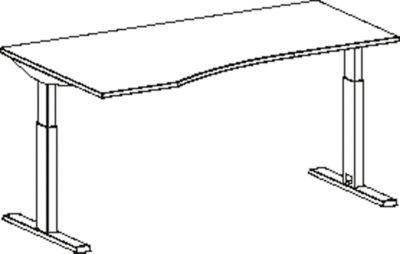 Freiformschreibtisch MODENA FLEX, elektr. höhenverstellbar, Ansatz links, B 1800 mm, lichtgrau