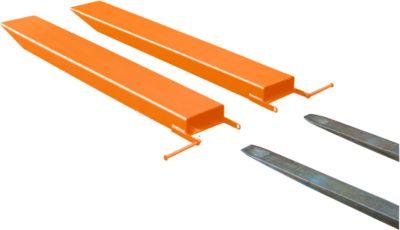 Gabelverlängerung für Flurförderzeuge, offene Ausführung, L 1600 x B 120 x 50 mm, orange
