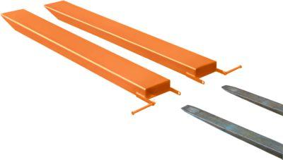 Gabelverlängerung für Flurförderzeuge, offene Ausführung, L 2000 x B 125 x 50 mm, orange