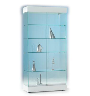 Ganzglas-Standvitrine ONYX, H 1950 x B 940 x T 480 mm, weiß