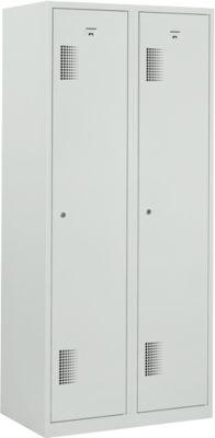 Garderobe kast, 2 afdelingen, grijs RAL 7035, b 800 x d 500 x h 1800 mm, cilinderslot