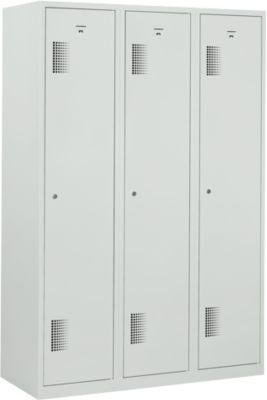 Garderobe kast, 3 afdelingen, grijs RAL 7035, b 1200 x d 500 x h 1800 mm, cilinder