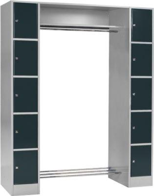 Garderobe-vakkenkast S 4/5, basiseenheid, z.grijs/antraciet