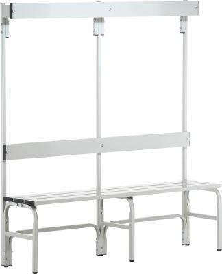 Garderobebanksysteem, type B, 1500 mm lang, rvs/alu