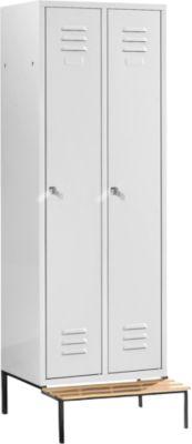 garderobekast, 2 afd., m. zitbank, cilinderslot, lichtgrijs/lichtgrijs