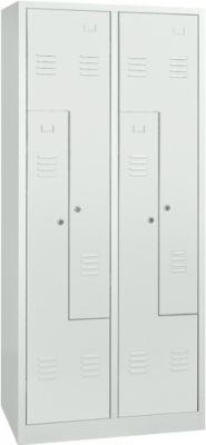 Garderobekast, 2 vakken, B 800 x H 1800 mm, hangslot, lichtgrijs/lichtgrijs