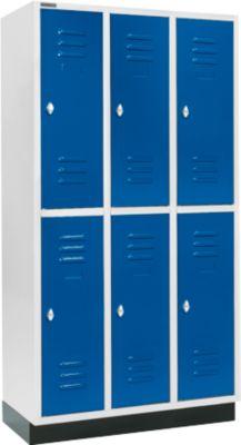 Garderobekast, 3x2 afd. 300 mm, m. sokkel, deur gent.blauw