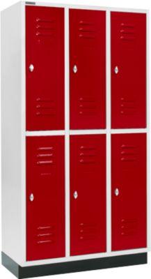 Garderobekast, 3x2 afd. 300 mm, m. sokkel, deur robijnrood