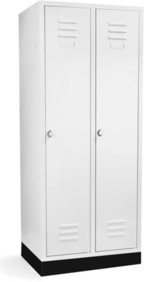 Garderobekast met 2 vakken, 400 mm, draaislot, met voet, deur lichtgrijs