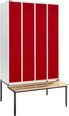Garderobekast met bank, 4 vakken, 300 mm vakbreedte, veiligheidsslot, lichtgrijs/rood, met kledingbakje met bank, 4 vakken, 300 mm vakbreedte, veiligheidsslot, lichtgrijs/rood