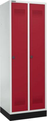 Garderobekast met onderstel, 2 vakken, 300 mm vakbreedte, veiligheidsslot, lichtgrijstinten/rood-rood