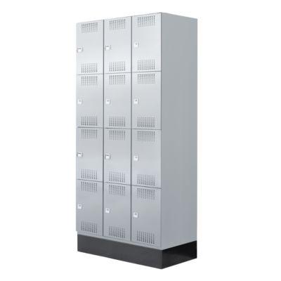 Garderobenschrank Classic, 12 Fächer, 900 mm breit, Hebelverschluss, lichtgrau/lichtgrau