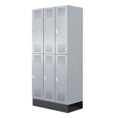 Garderobenschrank Classic, 6 Fächer, 900 mm breit, Hebelverschluss, lichtgrau/lichtgrau