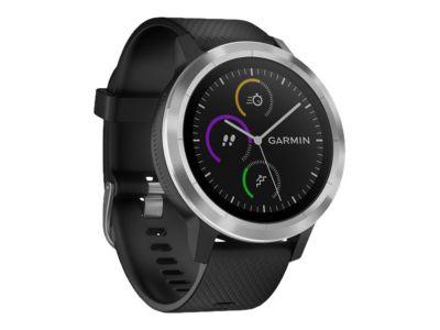 Garmin vívoactive 3 - Edelstahl - intelligente Uhr mit Band - schwarz