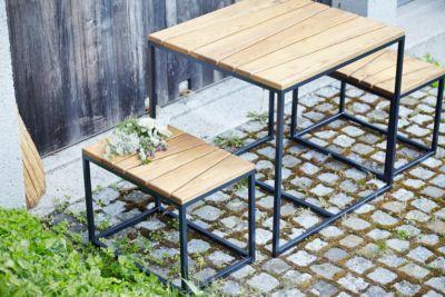 Gartenmöbel-Set Alois Mini, 3-teilig, Holz und Stahl