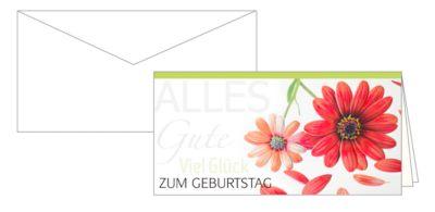 Geburtstagskarte Glückwunschkarte Viel Glück, mit Blumenmotiv, 10er-Set