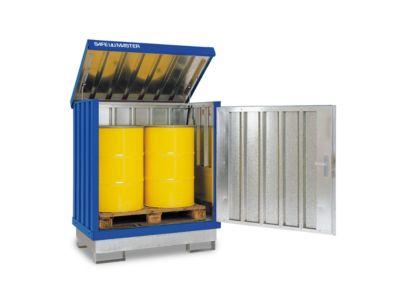 Gefahrstoffdepot Safe Master, Typ SM 2, Kapazität 2 x 200 l Fässer stehend, WGK 1-3, verzinkt + lackiert