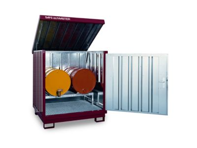 Gefahrstoffdepot Safe Master, Typ SM 4, Kapazität 4 x 200 l Fässer stehend, WGK 1-3, verzinkt und lackiert