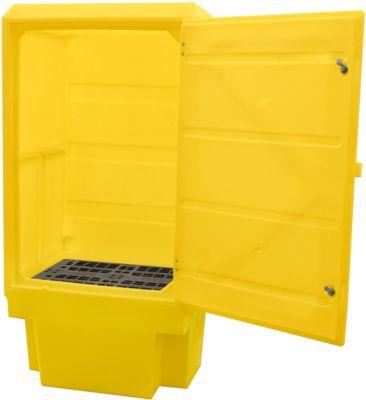 Gefahrstoffschrank für PSC3 Fasslagerung 200 l, 1 Fachgitterrost, Auffangwanne 225 l, abschließbar, PE, gelb