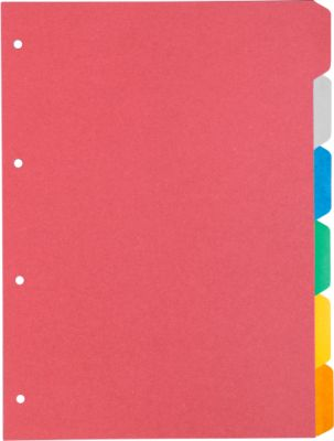 Gekleurd Kartonregister, 6-delig,  6 kleuren, sparpaket van 5 sets