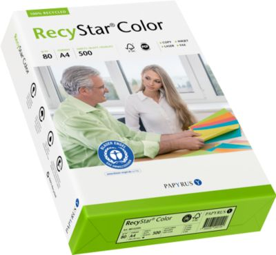 Gekleurd kopieerpapier Papyrus RecyStar Color, DIN A4, 80 g/m², lichtgroen, 1 verpakking = 500 vellen