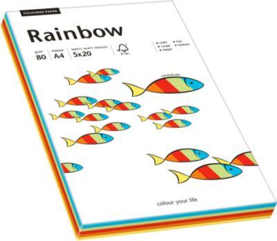 Gekleurd kopieerpapier RAINBOW, A4, 80 g/m²,diverse kleuren (5 x 20 vel), intens
