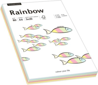 Gekleurd kopieerpapier RAINBOW, A4, 80 g/m²,diverse kleuren (5 x 20 vel), pastel