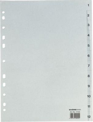 Gerecycleerde kartonnen tabbladen , A4, 1-12, (12 delig)