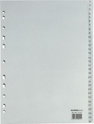 Gerecycleerde kartonnen tabbladen , A4, 1-31 (31-delig)