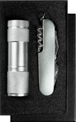 Geschenkset Combiknife, Taschenmesser und Taschenlampe, individualisierbar, inkl. Lasergravur