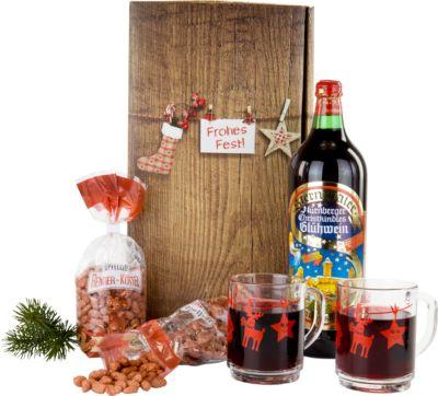 """Geschenkset """"Weihnachtsmarkt"""", 1 l Glühwein + 2 Glastassen 200 ml + 175 g gebrannte Ernüsse"""