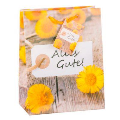 Geschenktasche Alles Gute, mittelgroß, 18 x 10 x 23 cm, reißfest, 3er-Set Motiv: Blume