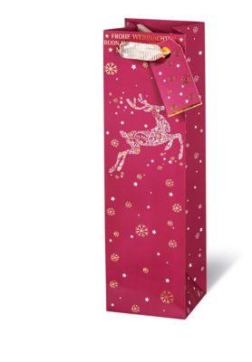 Geschenktasche Frohe Weihnachten, im Flaschenformat, 360 x 105 x 100 mm, veredelt, 6 Stück