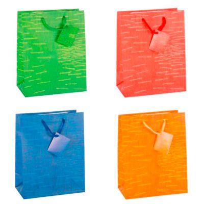 Geschenktasche Laura, mittelgroß, 18 x 10 x 23 cm, reißfest, 12er-Set, farbsortiert