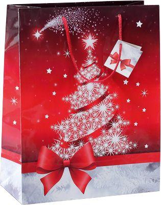 Geschenktasche Sigel Sparkling Tree, mit Kordeln & Geschenkanhänger, Papier, rot mit Weihnachtsbaum, klein