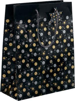 Geschenktasche Sigel Stardust, Kordeln & Geschenkanhänger, Papier, schwarz mit gold-silbernen Sternen/Kreisen, groß